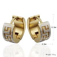 Wholesale High Quality Gold Hoop Earrings - High Quality Punk Gold Stainless Steel Hoop Earrings Simple Style Circle Hoop Earring Fashion Earrings for Women Man Jewelry
