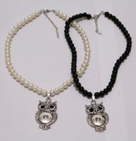 Wholesale glasses rope pearl resale online - Fashion Glass Pearl Noosa Chunks Metal Ginger Rhinestone Owl mm Snap Button Pendant Necklace Jewelry