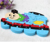 Wholesale Thomas Train Wooden Puzzle - English Letters Toys Brains Lovely Wooden Puzzles 3D Puzzle Educational Children Wooden Toys Thomas Train
