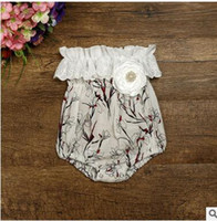 Wholesale Magnolia Blue - Toddler kids rompers Baby girls Magnolia flower printed jumpsuit Infant hollow out stereo flower dew shoulder rompers Baby Clothes C1672