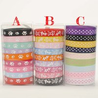 Wholesale New Ribbon Grosgrain Printed - NEW set pvc box 45yards mixed 9 style cute paw,bow and dots pattern printed Grosgrain Ribbon, each 5 yards hair tie DIY