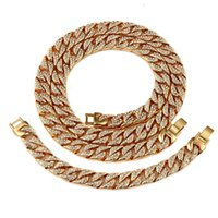 Wholesale 24k gold plated bangles - Exaggerated Hip Hop ICED OUT 24K Gold Plated Full Diamond Necklace Bracelet 2pcs Jewelry Set Men Bangle