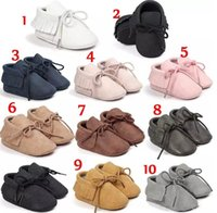 Wholesale Wholesale Suede Lace - 10colours PU Suede Leather Baby Moccasins girl boy Soft Soled Non-slip Footwear Crib baby Shoes Lace-up B11