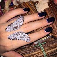 tibet silber schmetterling großhandel-925 Sterling Silber Ringe Finger großer Schmetterling Klar Zirkon Für Frauen Ring Hochzeit Geburtstag Zeitlose Elegante Modeschmuck