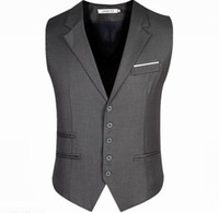 Wholesale Men Suit Single Button Business - 2017 New Arrival Men Vest Men's Fitted Leisure Waistcoat Casual Business Jacket Tops suit vest