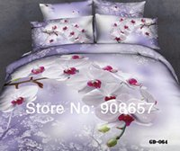 Wholesale Comforter Wedding Twill - 7-8pc 2014 3D wedding bedding plum white floral print bedspread comforter bed in a bag duvet covers set full queen king cal king