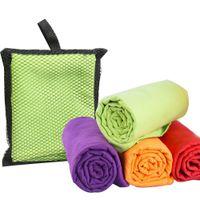 Wholesale Microfiber Gym Hand Towel - 40x75cm Microfiber Sports Towel Travel Jogger Cloth With Bag toalha de esportes Camping Swim Gym Washcloth 4 colors 1pcs lot