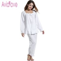 2bf7103221 vintage cotton nightgowns UK - Wholesale- Avidlove Women Nightgown British  Vintage Cotton Sleepwear Casual White