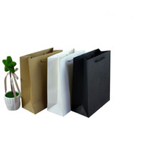 Wholesale Black Paper Shopping Bags - 40pcs lot 20*25*9cm gift black card paper bag for shopping,wedding gift bags gold kraft-paper-bag,customized logo bag