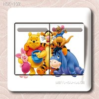 Wholesale Light Wall Sticker Switch Decoration - Free Shipping lovely Pooh Switch stickers cartoon Wall sticker for kids rooms decals Home Bedroom Parlor Decoration