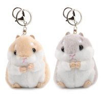 Wholesale Hamster Wholesale - Cute Soft Plush Cartoon Animal Keychain Small Hamster Toy Doll Keyring Stuffed Mouse Pendant Key Chain Women Bag Charms Trinket