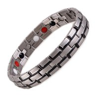 Wholesale Mens Germanium Bracelets - 2016Fashion Black Mens 361L Stainless Steel Bracelet Magnet Germanium FIR Nagtive Ion Balance Energy Magnetic Power Health Bracelets Bangles