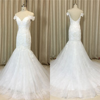 Wholesale Real Samples Wedding Dresses - Hot Sale 2017 Real Sample Tulle Lace Pearls Backless Sexy Mermaid QUEEN BRIDAL Wedding Dresses Free Shipping ZQ1