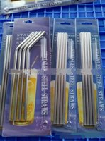 Wholesale Tumblers Drink - 2016 304 Stainless Steel Metal Drinking Straw Beer Juice Straws Cleaning Brush Set 4+1 Kit Fits Tumbler Cups Retail Packing