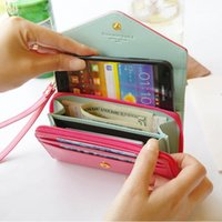 Wholesale Crown Mobile Phone Case - For iphone 6 7 samsung phone case Women Wristlet Wallets Pink Case Mini Purse Small Crown Wallet Clutch Mobile PU Leather Bag