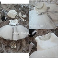 Wholesale Sleeveless Tulle Communion Dresses - Real Image 2017 White Lace Tulle Flower Girl Dresses Withe Different Color Sash Princess Pearl Ball Gown Party Wedding Girls Dresses MC0389