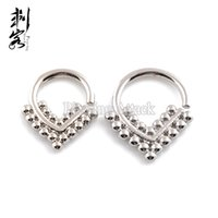Wholesale Triangle Nose Studs - New Arrival Septum Clicker 16G Brass Triangle Shape Tribal Indian Nose Piercing Jewelry Lot of 10pcs Free Shipping