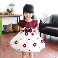 Wholesale Girls 14 Years Dress - 2016 Summer New Children's Fashion Clothing 3 Colors 3-14 Years Girls Preppy Style Bow Net Yarn Flower Princess Short-Sleeve Dress ly016