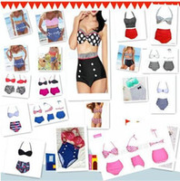 Wholesale Swimsuit Pin Up - High Quality 19 Design Fashion Cutest Retro Swimsuit Swimwear Vintage Pin Up High Waist Bikini Set HH 1000Set