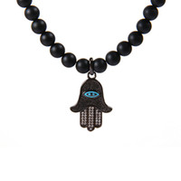 Brand New Mens Bijoux à la main en gros 5pcs / lot 6mm Natural Matate Agate Stone Beads Fatima Hamsa Necklace For Party