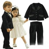 Wholesale Custom Baby Boy Outfits - Wedding Events Children's outfit The boy gentleman suit flower girl dress Suit children's suit Age of the baby suit(pants+jacket )