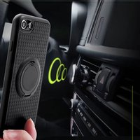 Wholesale Magnet Cover Iphone 5s - Silincone coque case for iPhone X 7 6 6s 5 5s 8 se Soft TPU Matte case cover with Luxury Carbon Fiber PC Magnet Suction stand