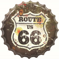 Wholesale Metal Sign Printing - Route US 66 40cm Metal Printed Beer Bottle Cap Vintage Tin Signs Bar Food Shop Room Wall Decor Poster Neon Signs for Bar