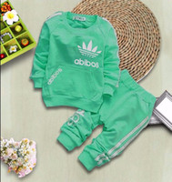 Wholesale 18 24 Months Costume - Top Hoodie + pants suits Outfits autumn spring toddler baby girls Boys Trousers clothes children kids casual costume sets clothing