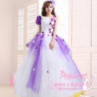 Wholesale Lace Embroidery Dress Catwalk - Violet Long Quinceanera Dresses 2016 One Shoulder Lace Flower Sweet Princess Catwalk Dress Plus Size Formal Performance Dresses