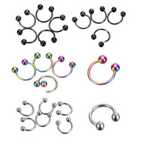 Wholesale 3mm Ball Stud Nose Ring - Nose Ring 100pcs 1.2*8*3mm ball surgical Steel circular piercing plated titanium colors piercing horseshoe ring