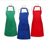 Wholesale Dress Bibs - Women Solid Cooking Kitchen Restaurant Apron Bib New Dress with Pocket Aprons Baking Cleaning Tools Apron 10 color KKA2224