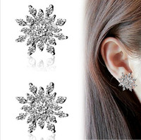 Wholesale bright color earring for sale - Group buy Christmas Jewelry Accessories Fine Bright Snowflake Earrings Crystal Stone Silver Gold Color Stud Women Fashion Big Earrings