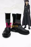Wholesale Kirito Cosplay Black Sword - Wholesale-Anime Sword Art Online Kirito Kazuto Kirigaya Cosplay Shoes Black Short Boots Custom-made