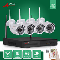 Wholesale Home Security System Cctv - DHL FREE 4CH P2P ANRAN 720P HDMI WIFI NVR Outdoor Waterproof IR Network CCTV Home Video Security 1.0 MP Wireless IP Camera System NVR Kit