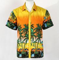 Wholesale men surfing shirt - Wholesale-Summer Hawaii Beach Man Shirts Short Sleeve Coconut Tree Print Quick Dry Casual Shirts Surfing Water Sports Fashion Men Shirts