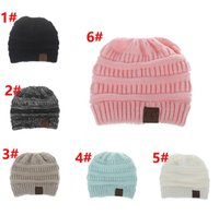 800ca973c72 kids CC Knitted Hats CC Trendy Winter Beanie Warm Skull Caps Soft Cable Knit  Slouchy Crochet Hats Fashion Outdoor Hats