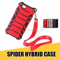 iphone örümcek hibrid kılıf toptan satış-IPhone 8 Kılıfları için 3 in 1 ile Hibrid Moda Örümcek Tasarım Asılı Halat Telefon Konut için X 7 artı Galaxy Note8 S8 Artı