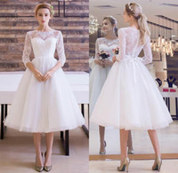 Wholesale T Length Wedding Dress Designers - 2018 Beach Knee Length Lace Tulle Wedding Dresses Vintage Sheer 3 4 Sleeves Appliques with Bow Sash Bohemian Bridal Gowns Cheap