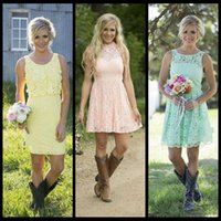 vestido de dama de honor de la boda del color de la mezcla al por mayor-2016 país corto menta verde encaje damas de honor vestidos estilo mixto vestido formal dama de honor hasta la rodilla vestidos de fiesta de boda