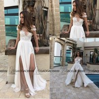 Wholesale Tea Length Wedding Dress Hollow - 2016 Berta Lace Chiffon Elegant Split Summer Beach A-line Wedding Dresses Custom Make Sheer Cap Sleeve Cheap Bridal Wedding Gown