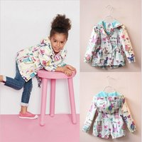 Wholesale Cute Toddler Girl Coats - 2016 New Spring Cute Baby Girl Coat Print Cartoon Graffiti Hooded Zipper Girl Jacket Full Sleeve Toddler Girl Outerwear wt-9