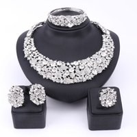 Wholesale Costume Party Dresses - Bridal Gift Nigerian Wedding African Beads Jewelry Set Fashion Dubai Clear Crystal Jewelry Set Costume Design Party Dinner Dress