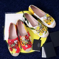 Wholesale Design Espadrilles - Bohemia Flower Women Espadrille Rhinestone Flat Women Shoes Brand Design Women Loafers Holiday Tropical Style XWA0309-5