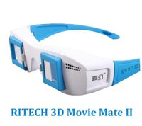 gözlük olmadan 3d toptan satış-3D Film Için RITECH 3D Film Mate II / Resim Üzerinde Normal Monitör veya 3D Fonksiyonu olmadan TV PC TV stereo gözlük 3d Renk Mavi