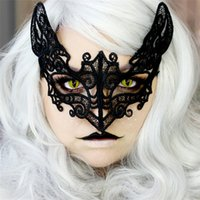 14cbe80b3 Black Sexy Lady Lace Cat Mask for Cosplay Eyes Half Face Masks Women Queen Masquerade  Party Fancy Dress Costume Halloween Party Fancy