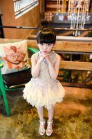 Wholesale Elegant Baby Dress Organza - Elegant Girl Dress Baby Girls 2016 Summer Fashion Lace Gauze Beaded Sleeveless Dresses Party Tutu Lace Flower Princess Dresses Free Shipping