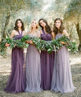 Wholesale High Neck Halter Bridesmaid Dress - Real Photo 2017 Cheap Fairy Country Bridesmaid Dresses Long Purple Tull High Low Halter Neck Ruched Chiffon Boho Dresses Custom Made