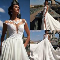 Wholesale Cheap Beach Balls - Sexy Side Split Wedding Dresses Jewel Neck Cap Sleeve 2016 Lace Applique Ball Gowns Sweep Train Milla Nova Cheap Chiffon Bridal Dress