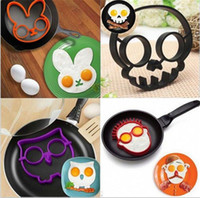 Wholesale Egg Moulds - Cooked Fried egg Skull owl shaper silicone moulds egg ring silicone mold cooking tools christmas supplies Fried Egg Mold Pancake A027