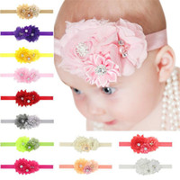 Wholesale Head Flowers Accessories - Baby Girls headbands Flower Bows Rhinestones Infant Kids Hair Accessories with chiffon flowers Cute lovely Hair Ornaments Head bands KHA10